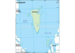 Bahrain Outline Map in Green Color - Digital File