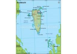 Political Map of Bahrain in Dark Green Background