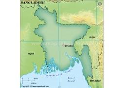 Bangladesh Blank Map in Dark Green Background