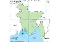 Bangladesh Outline Map in Green Color