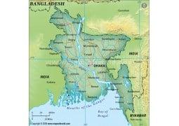 Bangladesh Political Map, Dark Green  - Digital File