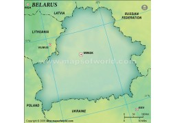 Belarus Blank Map in Dark Green Background - Digital File