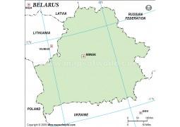 Belarus Outline Map, Green  - Digital File