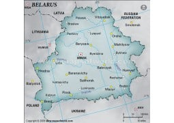 Belarus Physical Map with Cities in Gray Background - Digital File