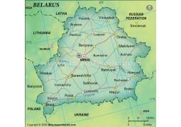 Belarus Political Map in Dark Green Background - Digital File