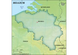 Belgium Blank Map in Dark Green Background - Digital File