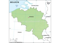 Belgium Outline Map, Green  - Digital File