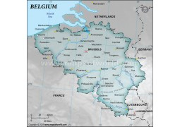 Belgium Physical Map with Cities in Gray Background - Digital File