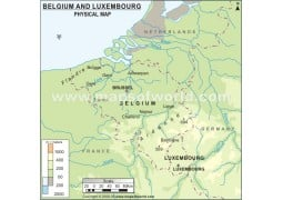 Belguim and Luxembourg Physical Map  - Digital File