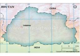 Bhutan Blank Map, Dark Green  - Digital File