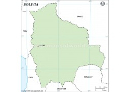 Bolivia Outline Map in Green Color - Digital File