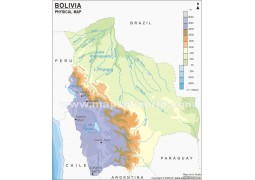 Bolivia Physical Map  - Digital File