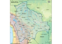 Bolivia Political Map, Dark Green  - Digital File
