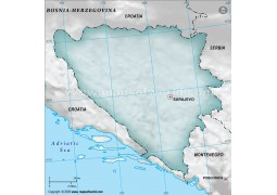Bosnia Herzegovina Blank Map, Dark Green