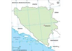 Bosnia Herzegovina Outline Map, Green