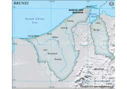 Brunei Physical Map with Cities in Gray Color - Digital File