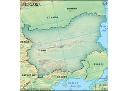 Bulgaria Blank Map, Dark Green  - Digital File