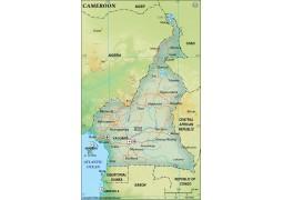 Cameroon Political Map, Dark Green  - Digital File