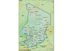 Chad Political Map, Dark Green  - Digital File