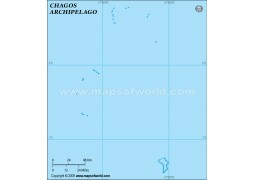 Chagos Outline Map, Light Blue  - Digital File