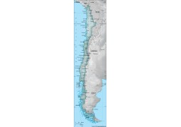 Chile Physical Map with Cities in Gray Color - Digital File