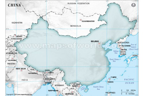 Buy China Blank Map In Gray Background
