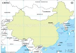 China Outline Map, Green