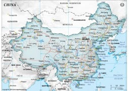 China Political Map in Gray Background