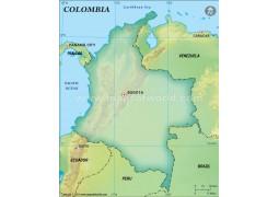 Colombia Blank Map, Dark Green  - Digital File