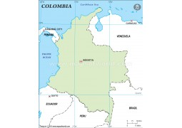 Colombia Outline Map, Green  - Digital File