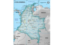 Colombia Physical Map with Cities in Gray Background - Digital File