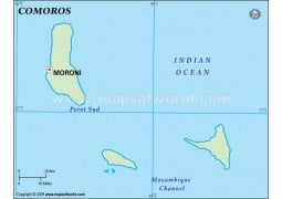 Comoros Outline Map, Green  - Digital File
