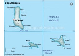Comoros Physical Map, Dark Green  - Digital File