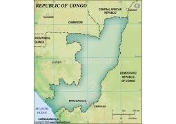 Congo Blank Map, Dark Green  - Digital File