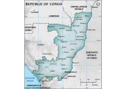 Congo Map in Gray Color - Digital File