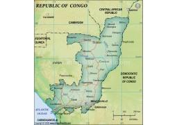 Congo Political Map, Dark Green  - Digital File