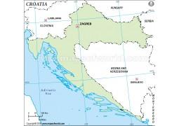 Croatia Outline Map, Green  - Digital File