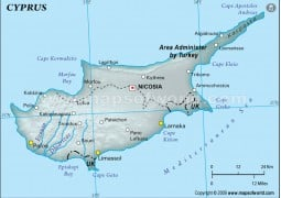 Cyprus Physical Map, Gray - Digital File