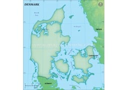 Denmark Blank Map in Dark Green Background - Digital File
