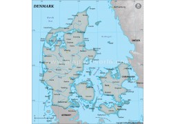 Denmark Physical Map with Cities in Gray Background - Digital File