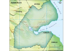 Djibouti Blank Map in Dark Green Background - Digital File
