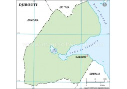 Djibouti Outline Map in Green Color - Digital File