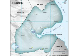 Djibouti Physical Map with Cities in Gray Background - Digital File