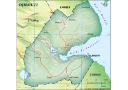 Djibouti Political Map in Dark Green Background - Digital File