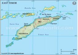 East Timor Political Map, Dark Green  - Digital File