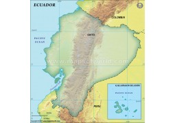 Ecuador Blank Map, Dark Green  - Digital File