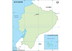 Ecuador Outline Map in Green Color - Digital File