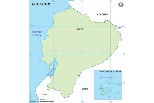 Buy Ecuador Outline Map In Green Color - Colored outline map of ecuador