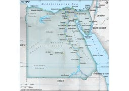 Egypt Physical Map with Cities in Gray Color - Digital File