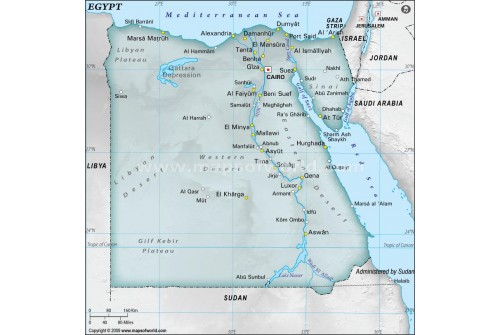 Buy Egypt Physical Map With Cities In Gray Color - Egypt physical map